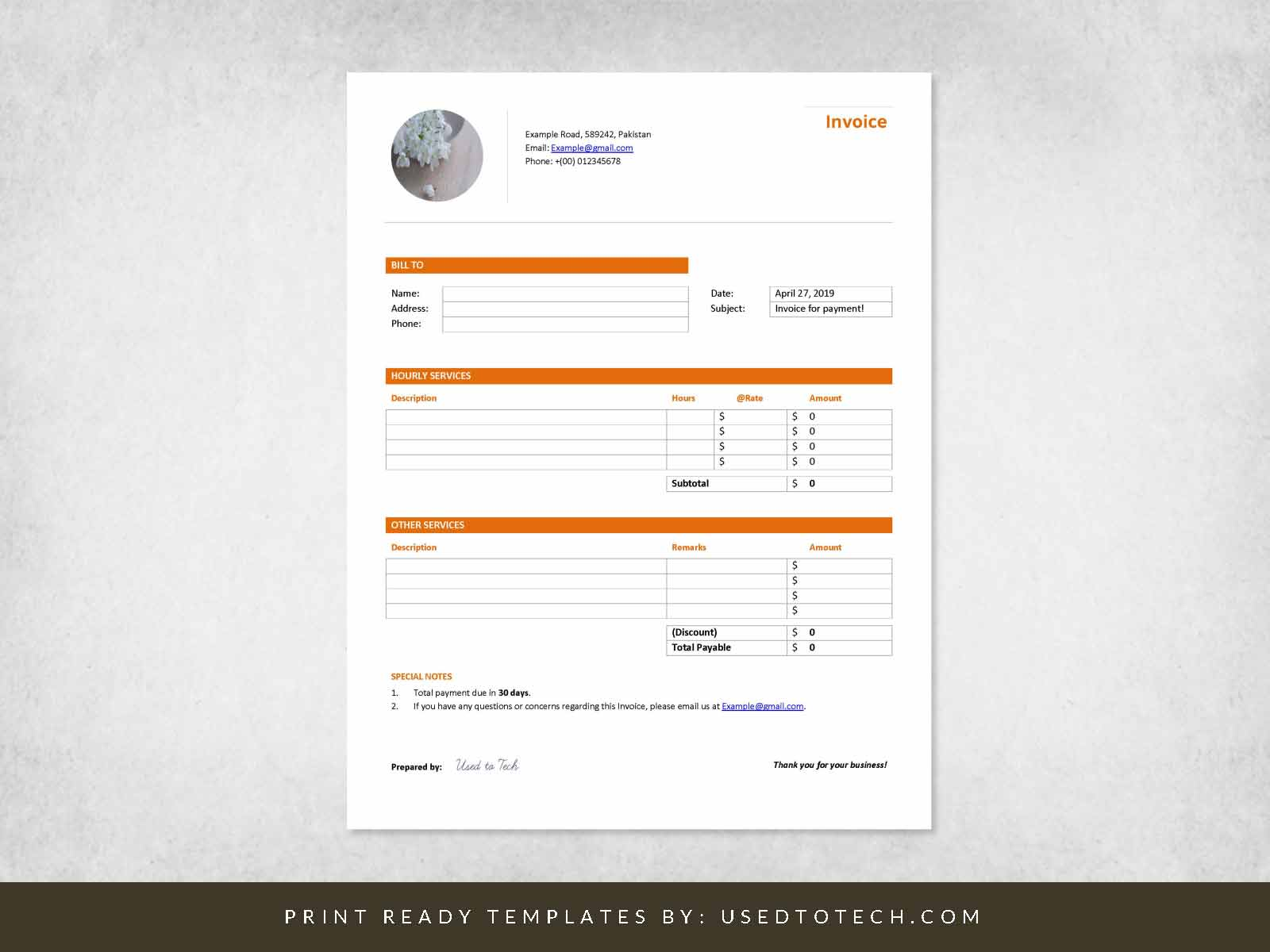 Professional Invoice Template Header