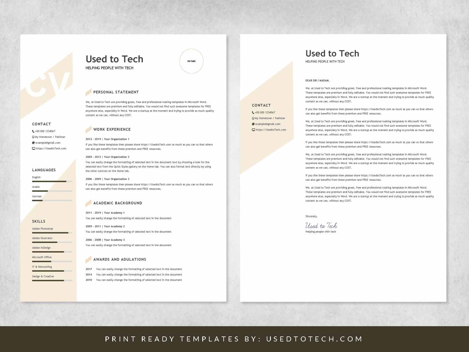 Modern resume template in Word free - Used to Tech