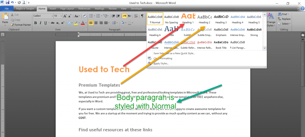 Ms Word 2010 built-in styles