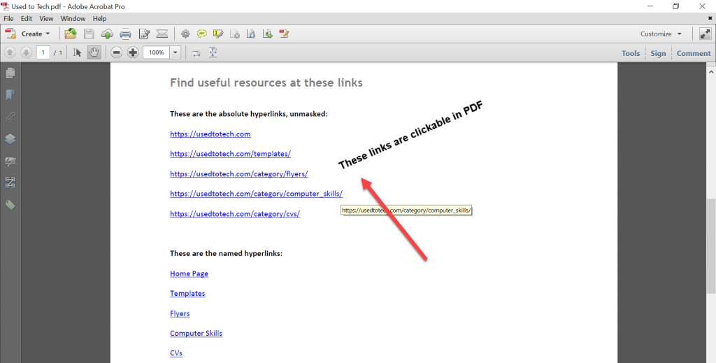 Clickable links in PDF