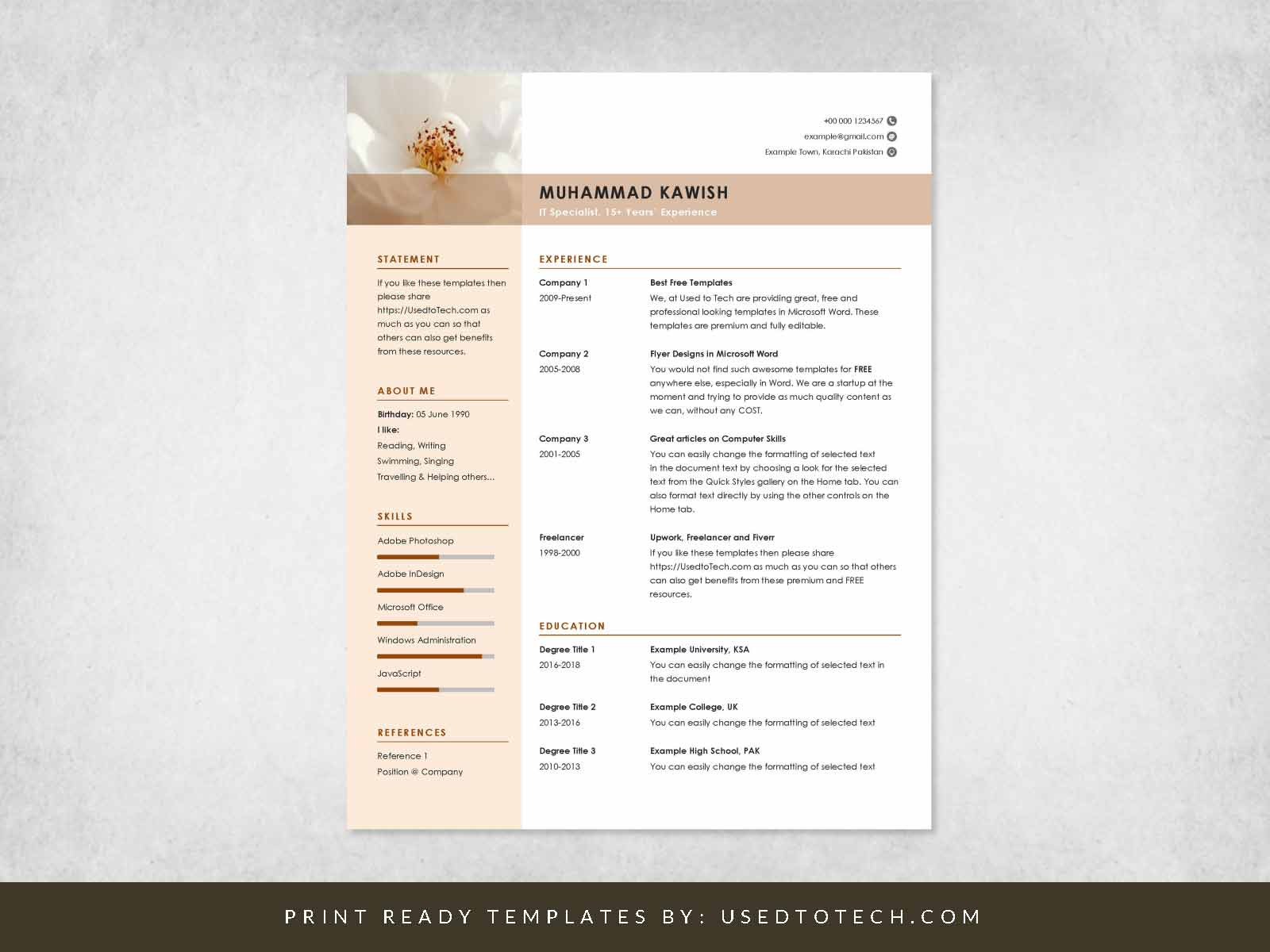 free clean and minimalist cv template in word