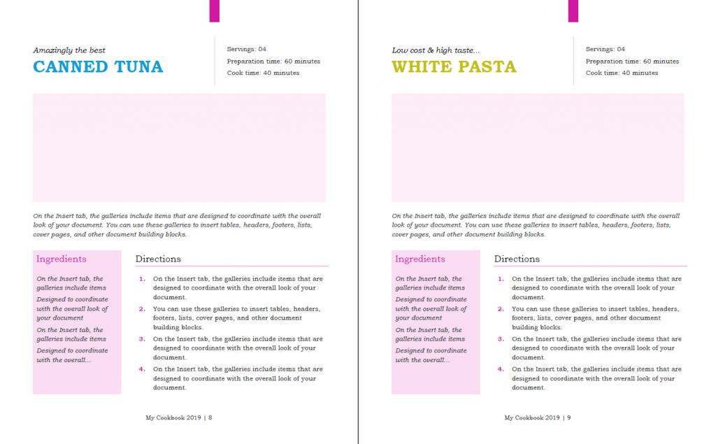 Beautiful cookbook design template in Word - Used to Tech