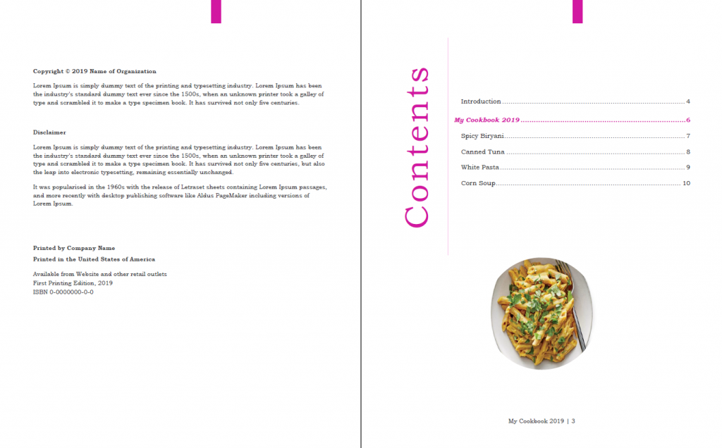 Cookbook design template in Word, automatic TOC