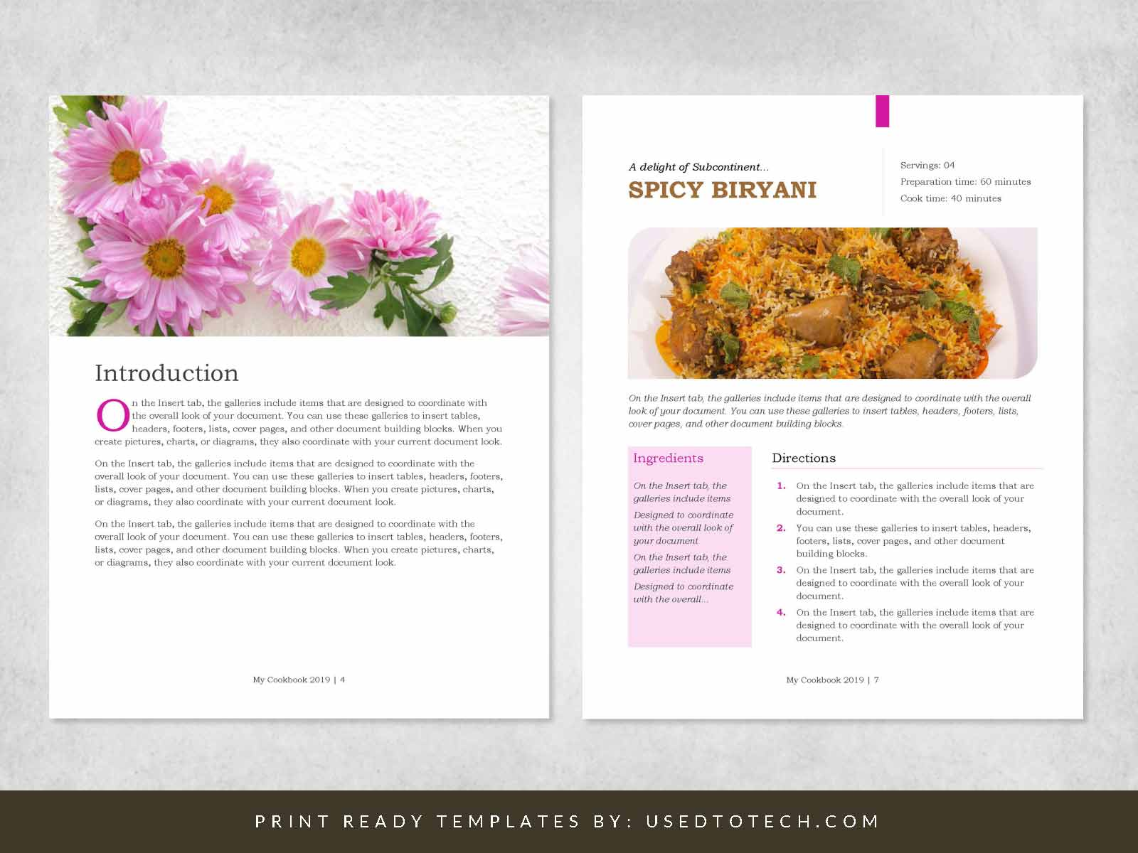 Beautiful Cookbook Design Template in Word