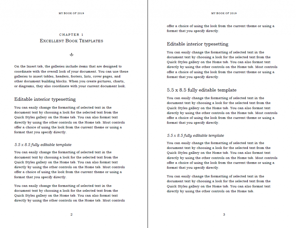 Modern Book layout in Word