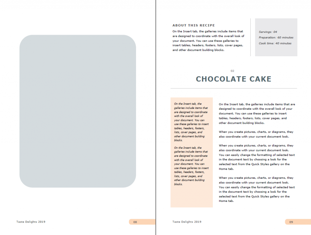Full Page Recipe Template in Word