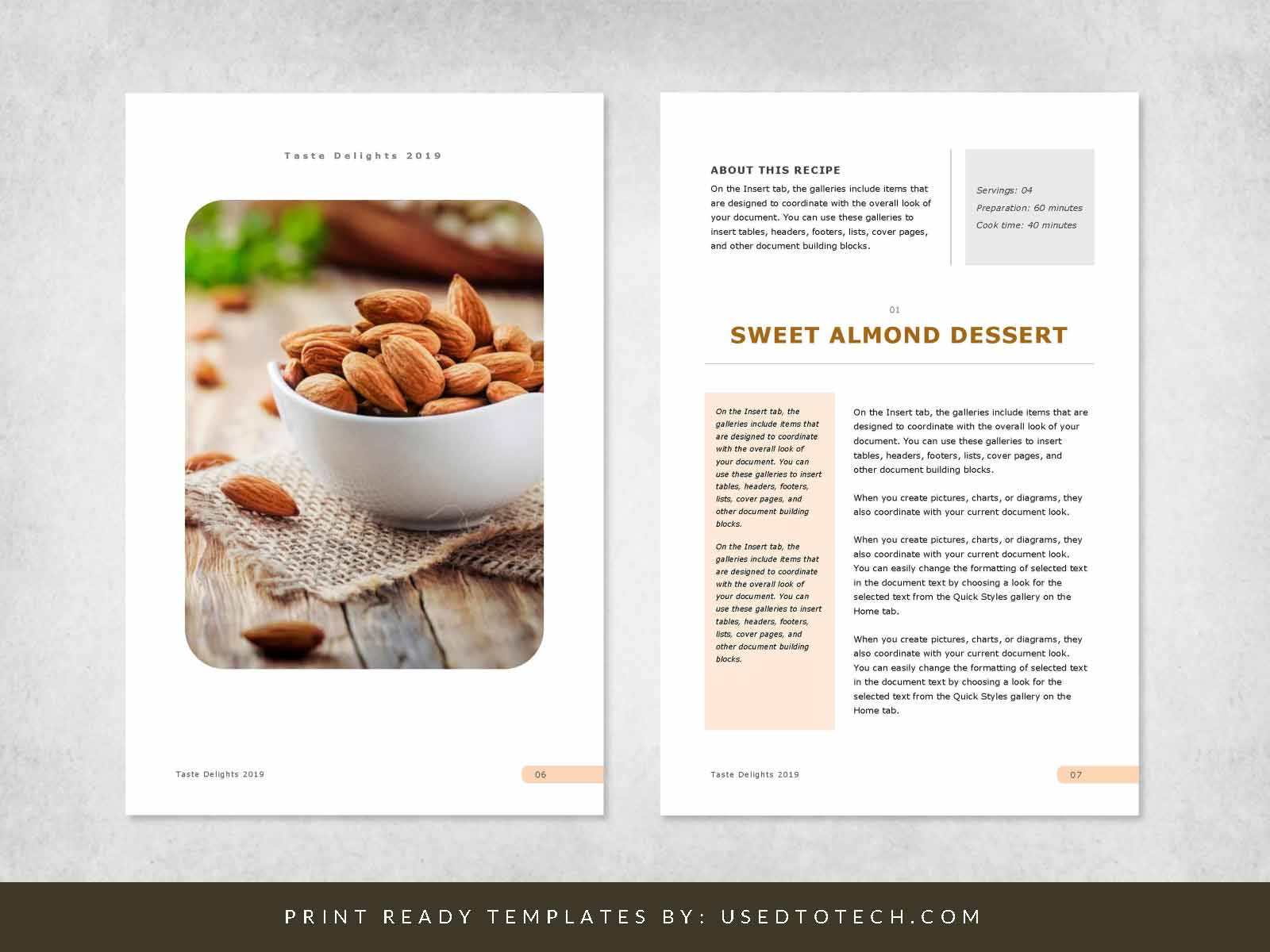 Eye-Catching & Editable Recipe Template for Word