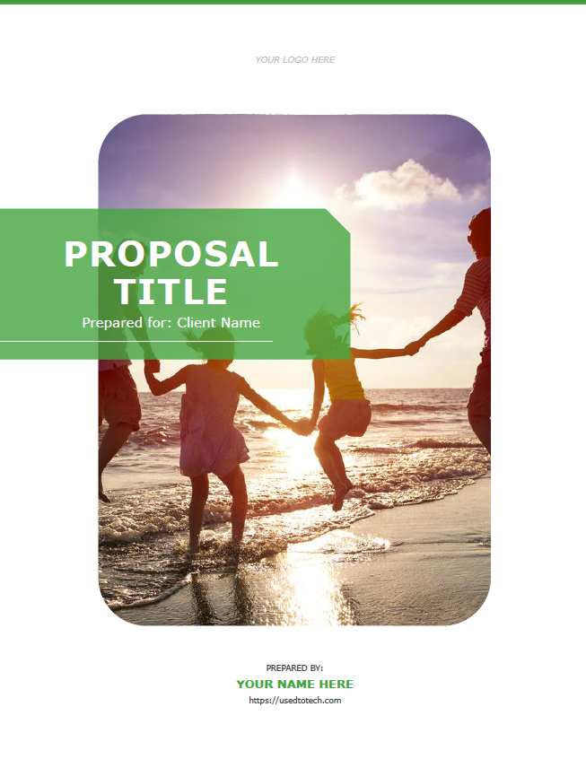 Cover page for proposal template in Word