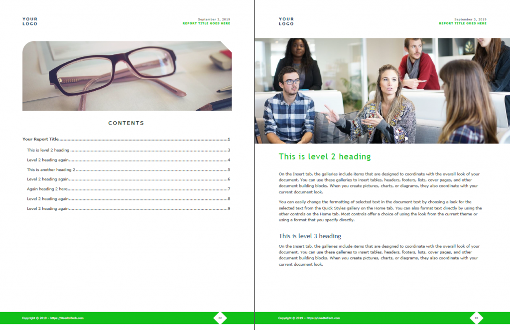 Corporate report design in Word with Table of Contents