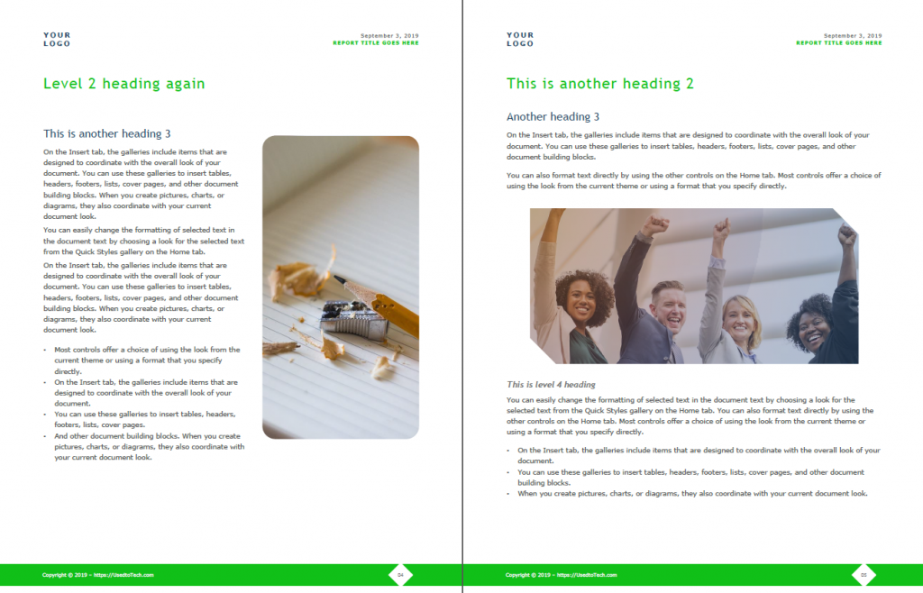 Corporate report design template in Word, inner pages