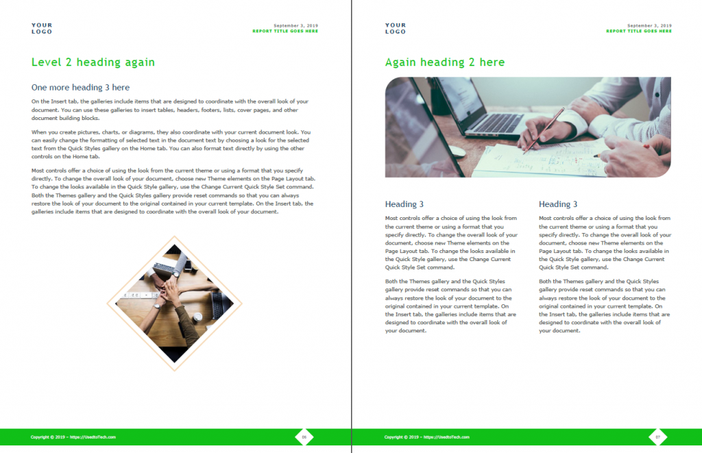 Corporate & modern report design template in Word