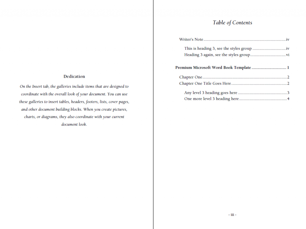 6x9 Book template with automatic table of contents