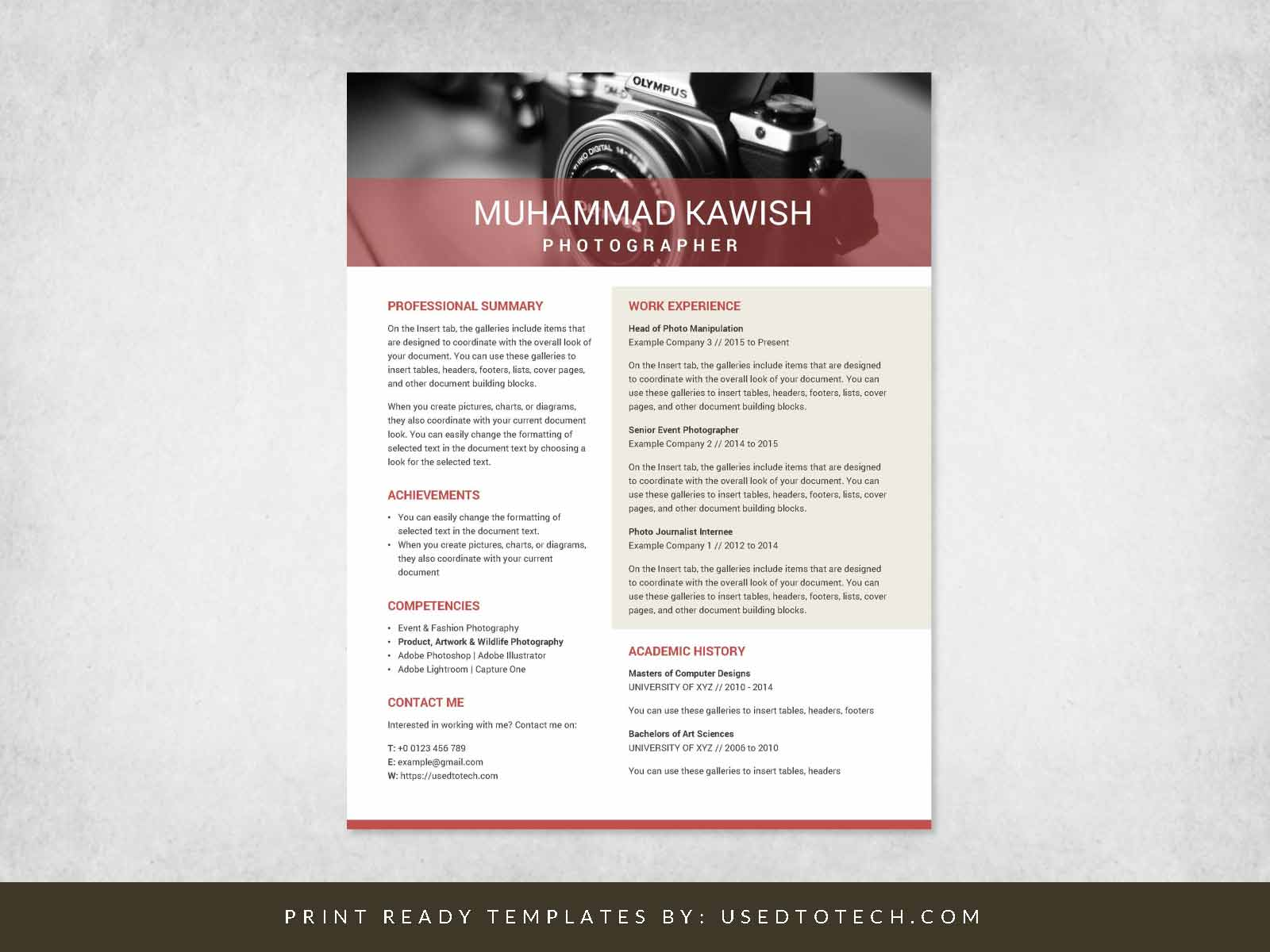 Editable Infographic Resume in Microsoft Word for Professionals