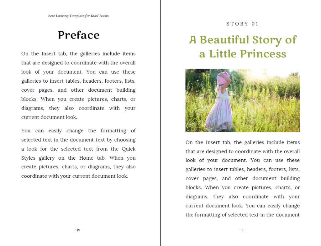 Children book layout in Word