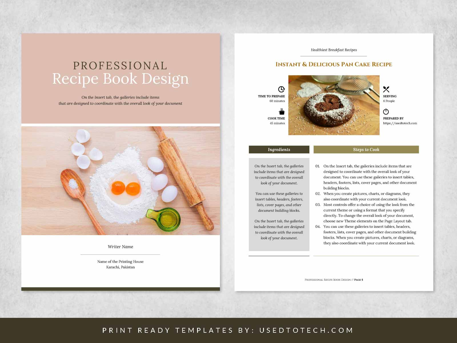 Free Professional Recipe Book Design in Microsoft Word