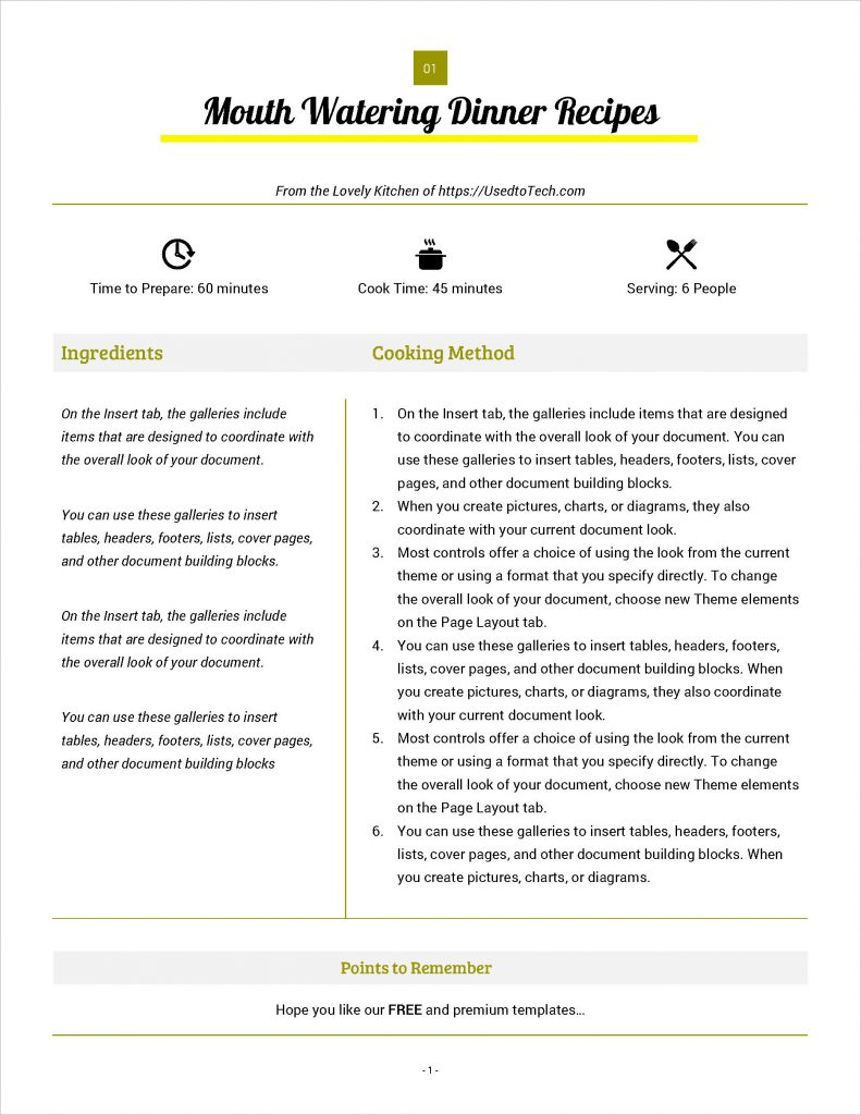 Full page recipe card in Word