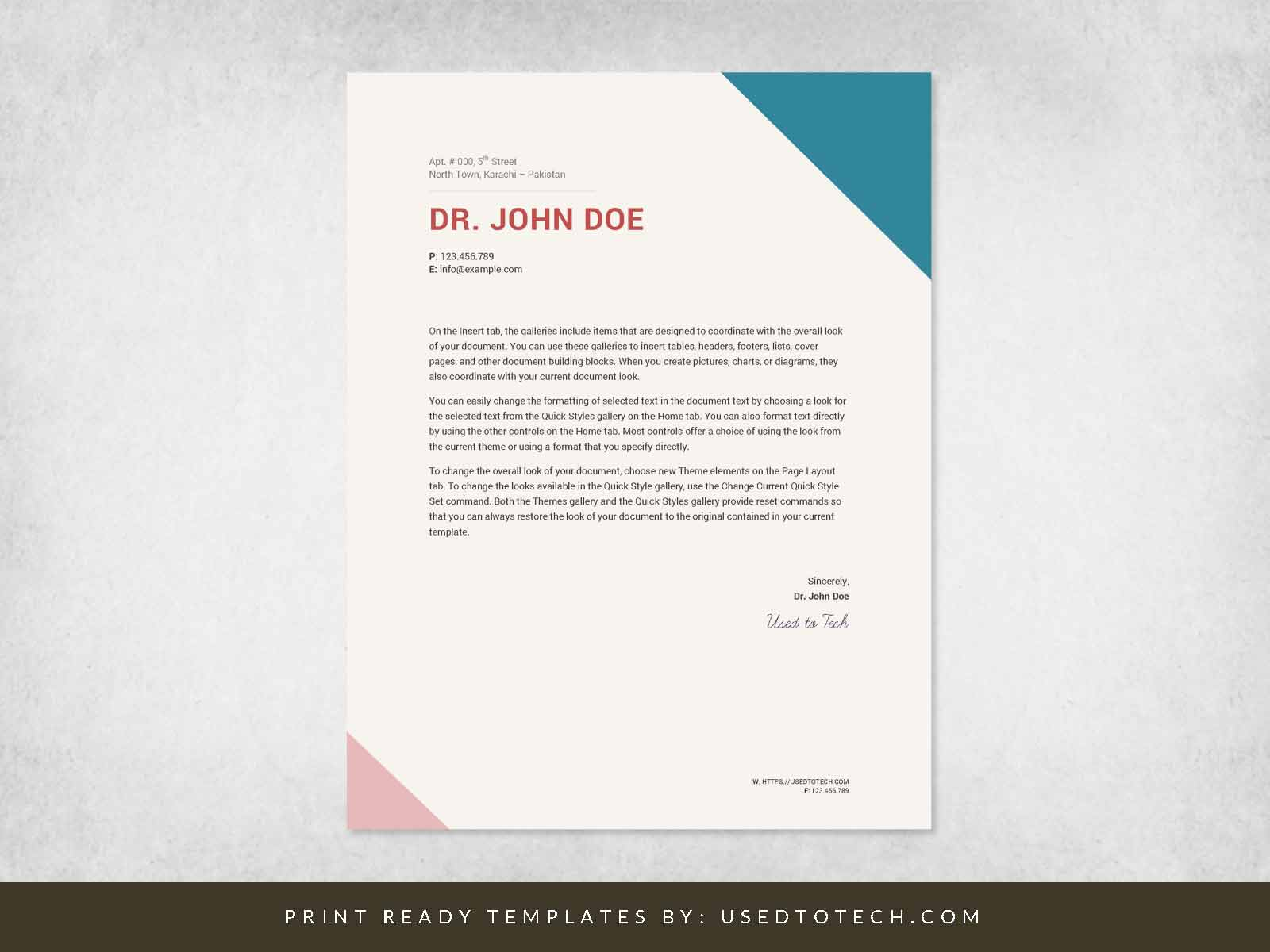Personal Letterhead Template Word from usedtotech.com