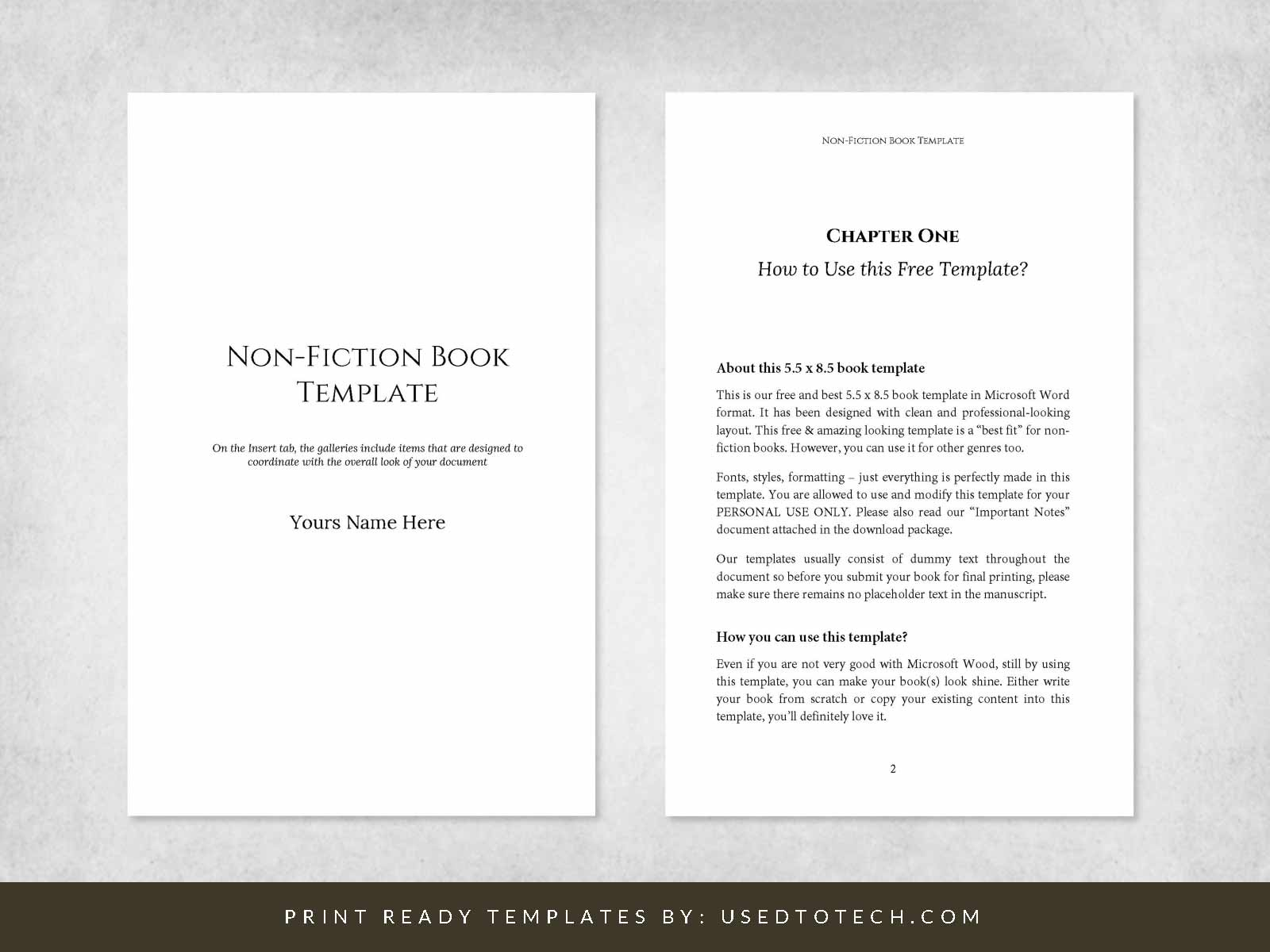 Best non-fiction book template in Microsoft Word, 5.5 x 8.5