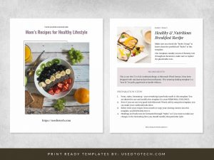 Free cookbook template in Word with minimal design