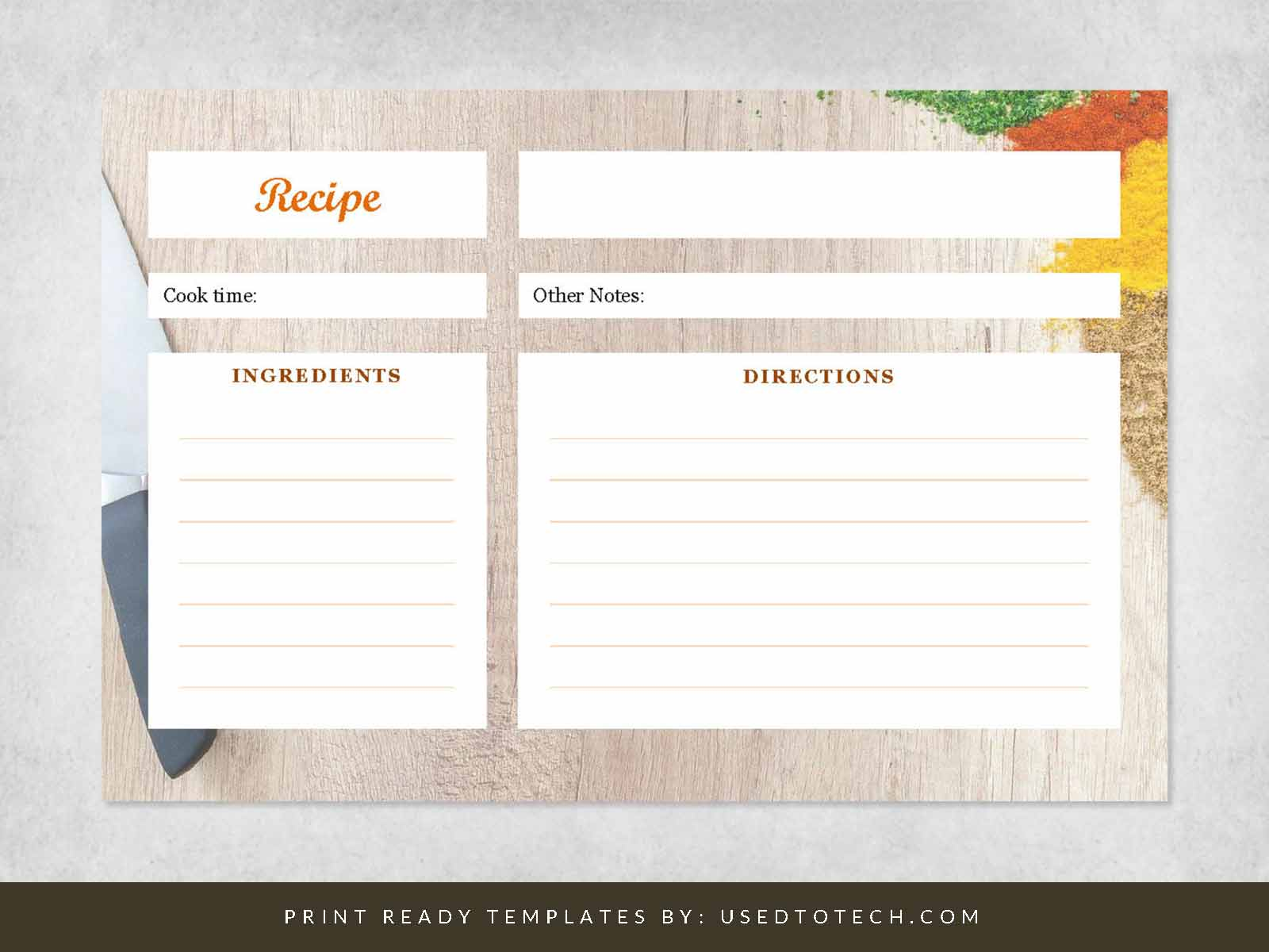 Fancy 4 x 6 recipe card template for Word