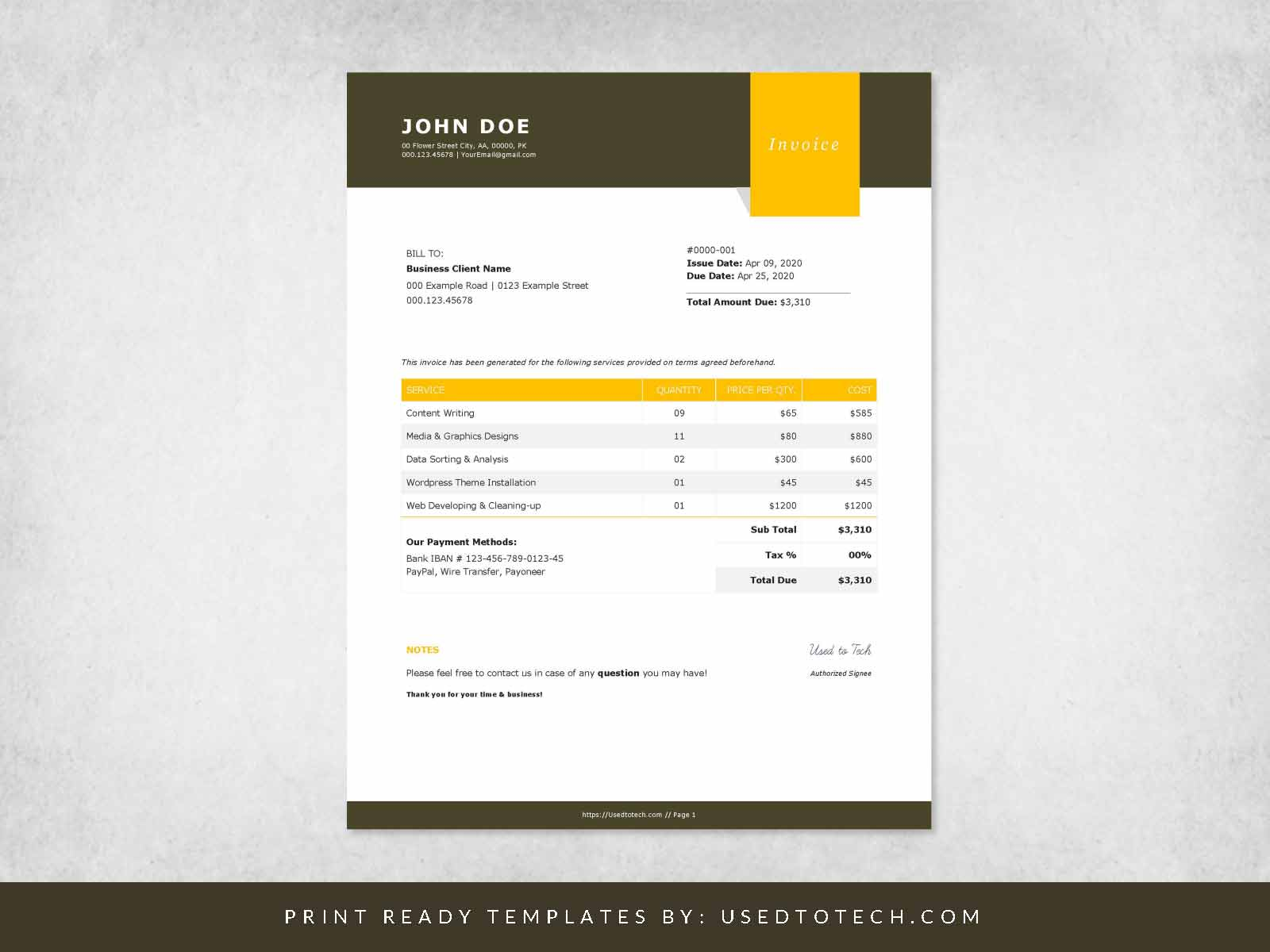 Free billing format invoice in Word