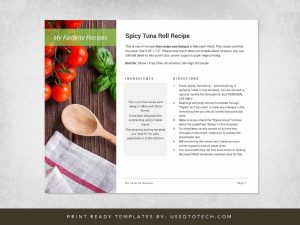 Best recipe card for Word with outstanding design
