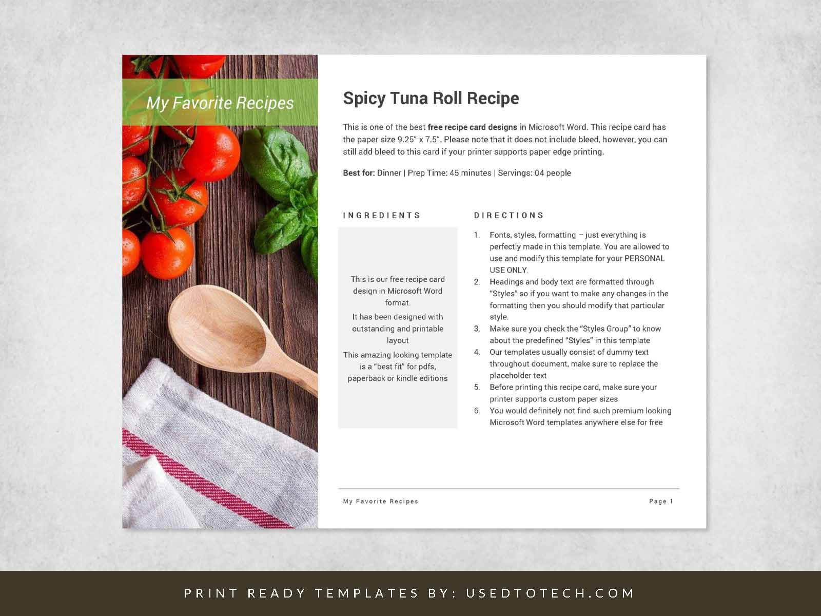 Best Recipe Card For Word With Outstanding Design Used To Tech