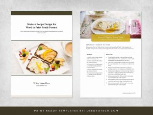 Modern recipe design for Word in print ready A4 paper