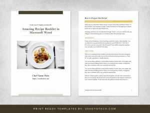 Amazing pocket sized recipe booklet in Microsoft Word