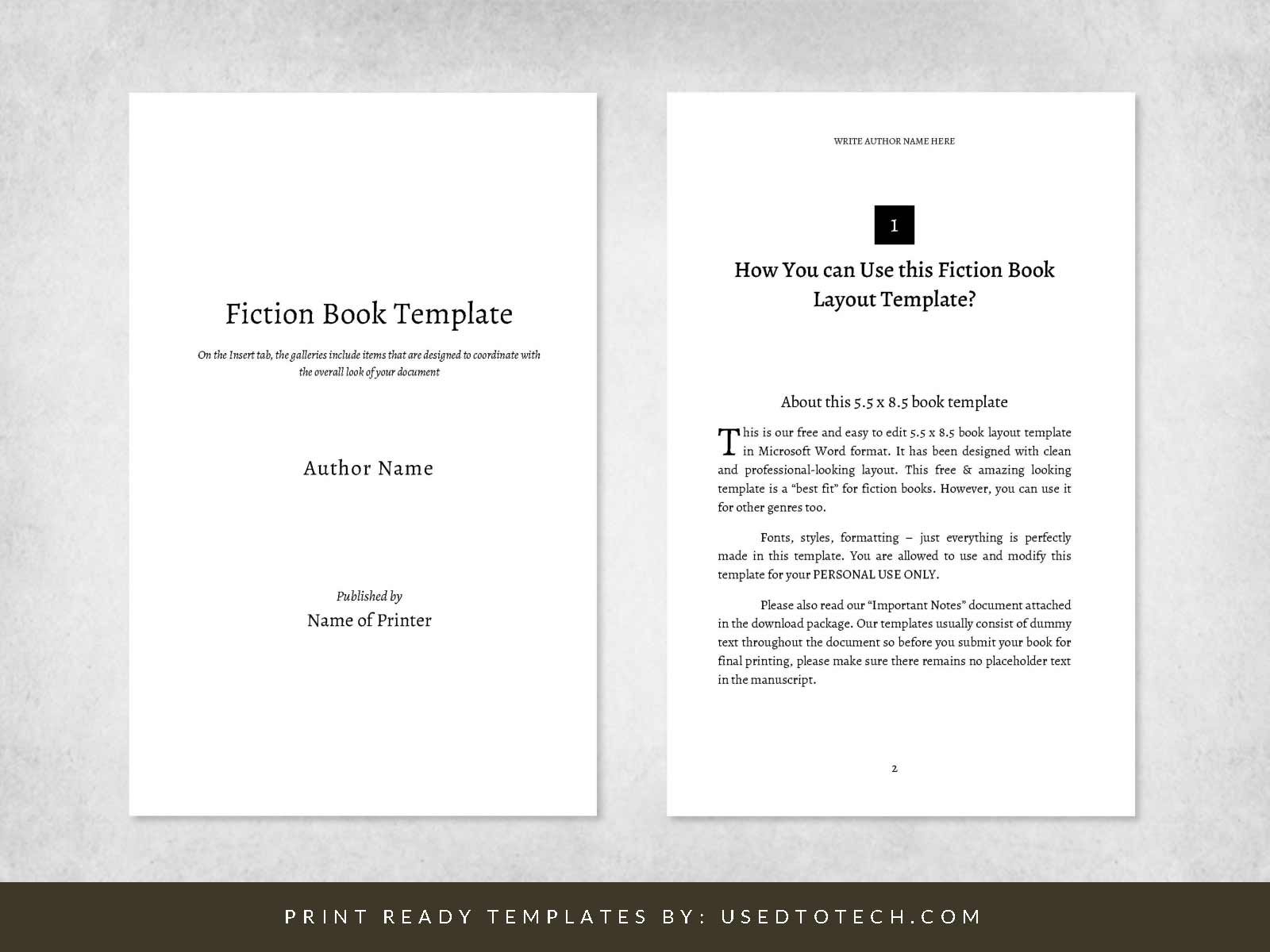 Fiction book layout template in Word for 5.5 x 8.5 digest