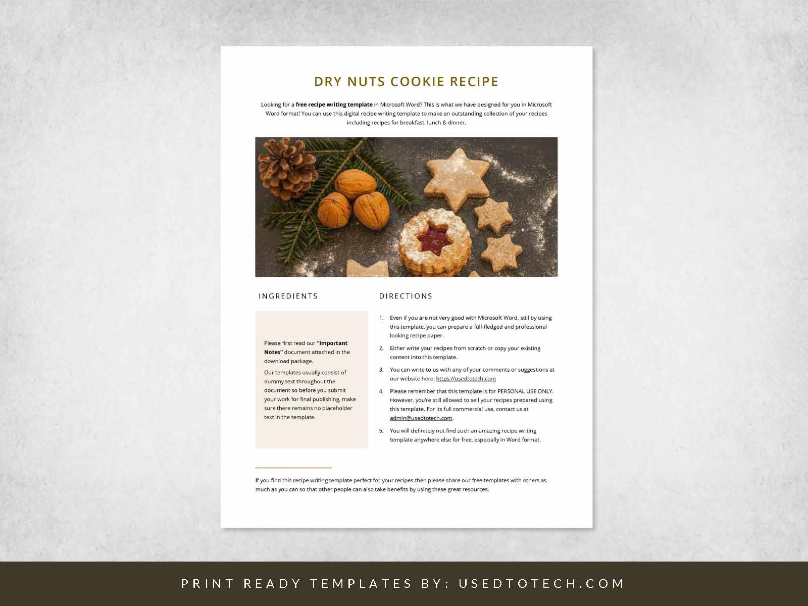 Free instant recipe writing template in Word