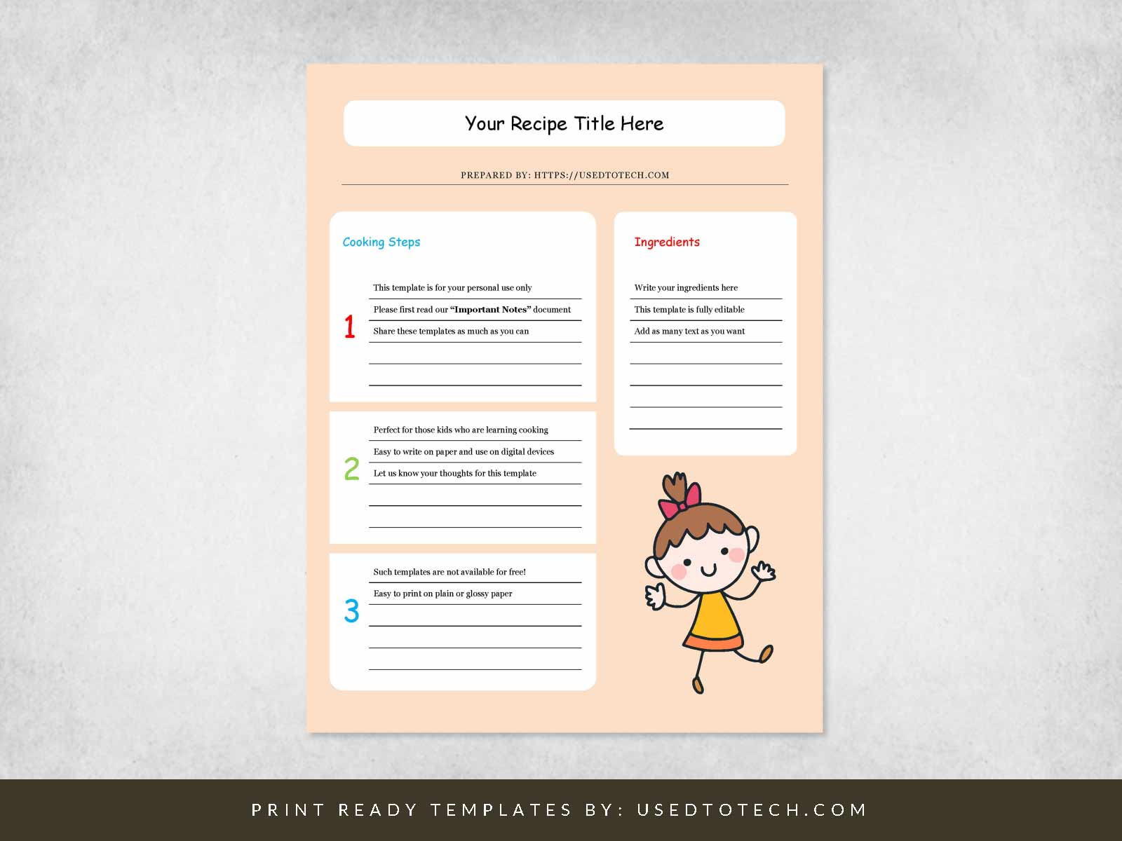 Free full color kids recipe template for Word