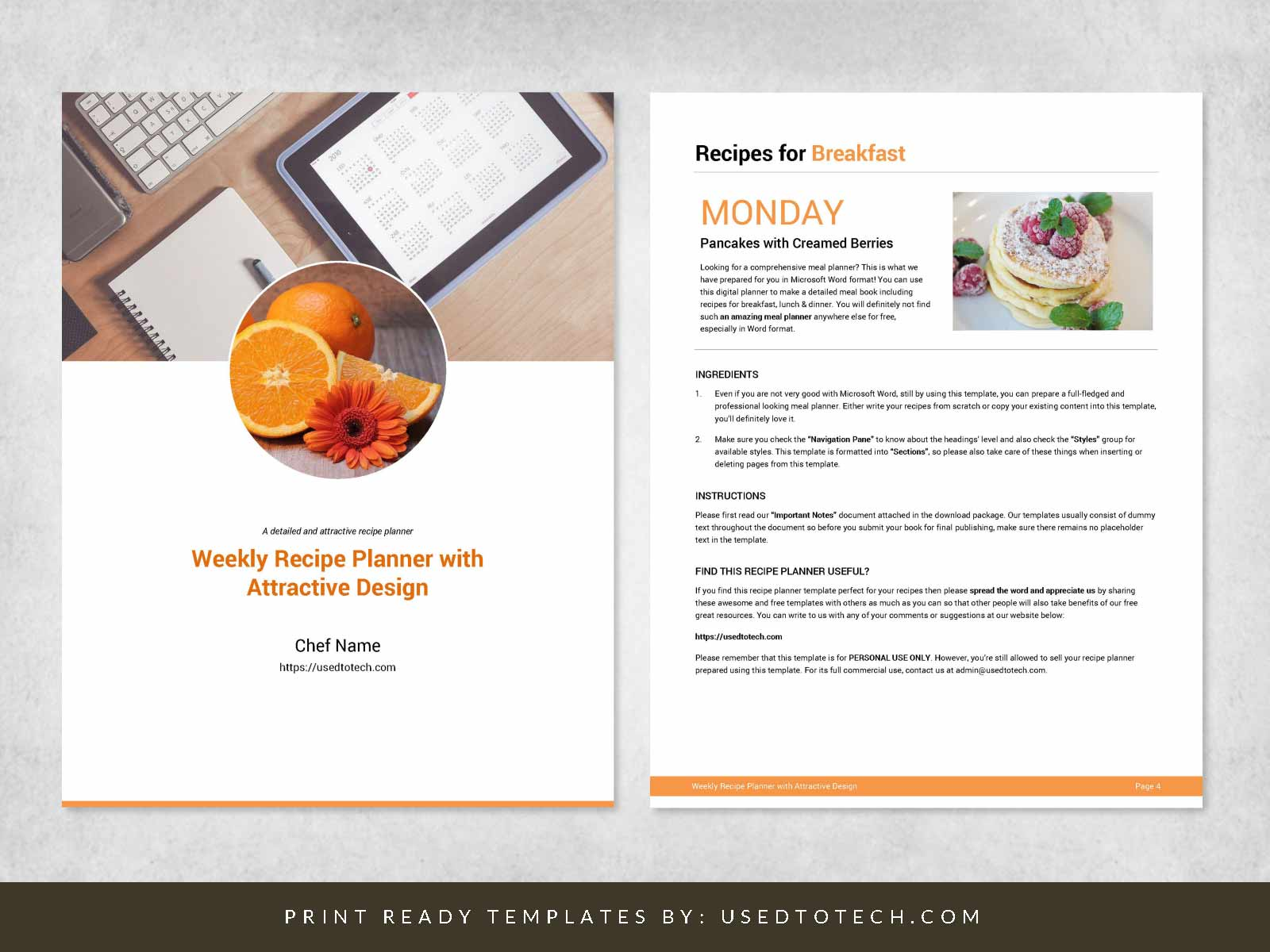 Weekly recipe planner for Word with attractive design