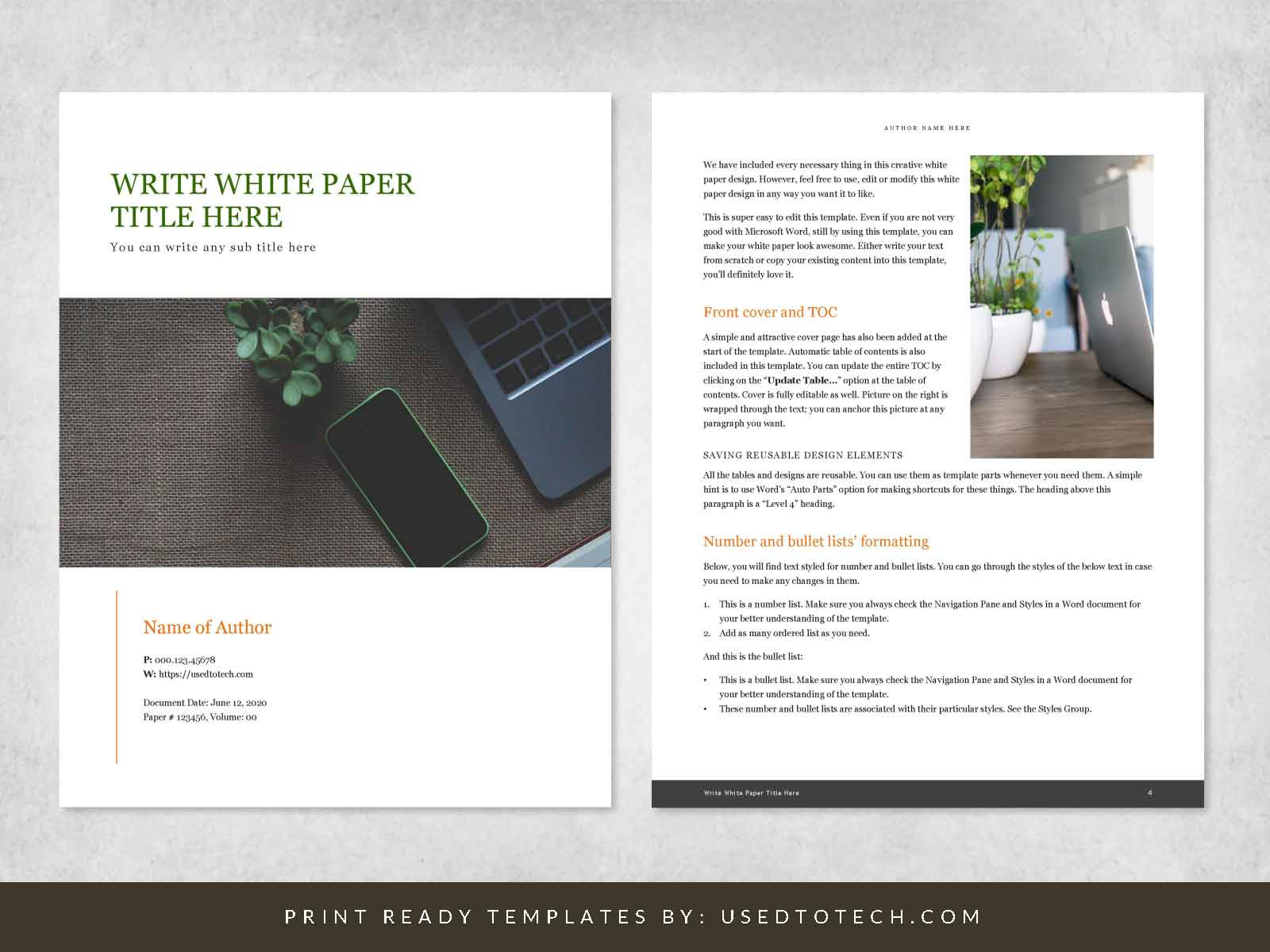 Creative white paper design for Word