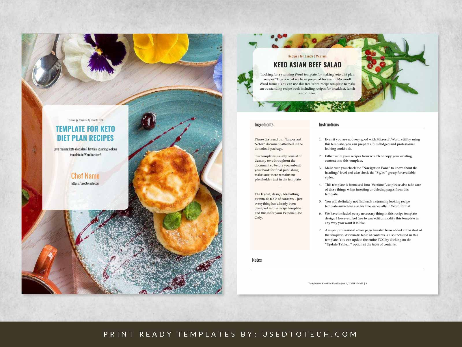 Free Word template for Keto diet plan recipes