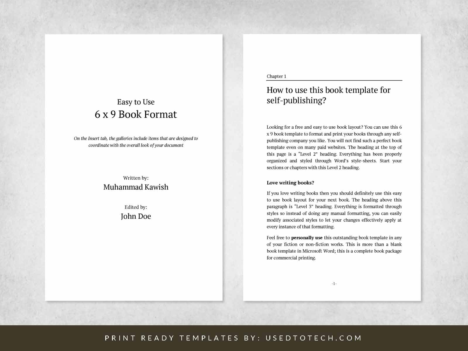 Easy-to-use 6 x 9 book format for Word