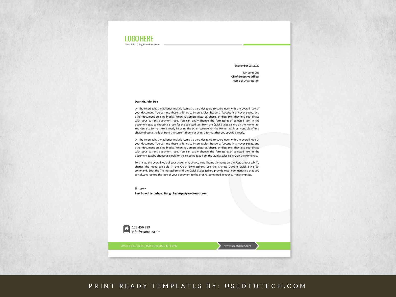 Free best school letterhead in Word