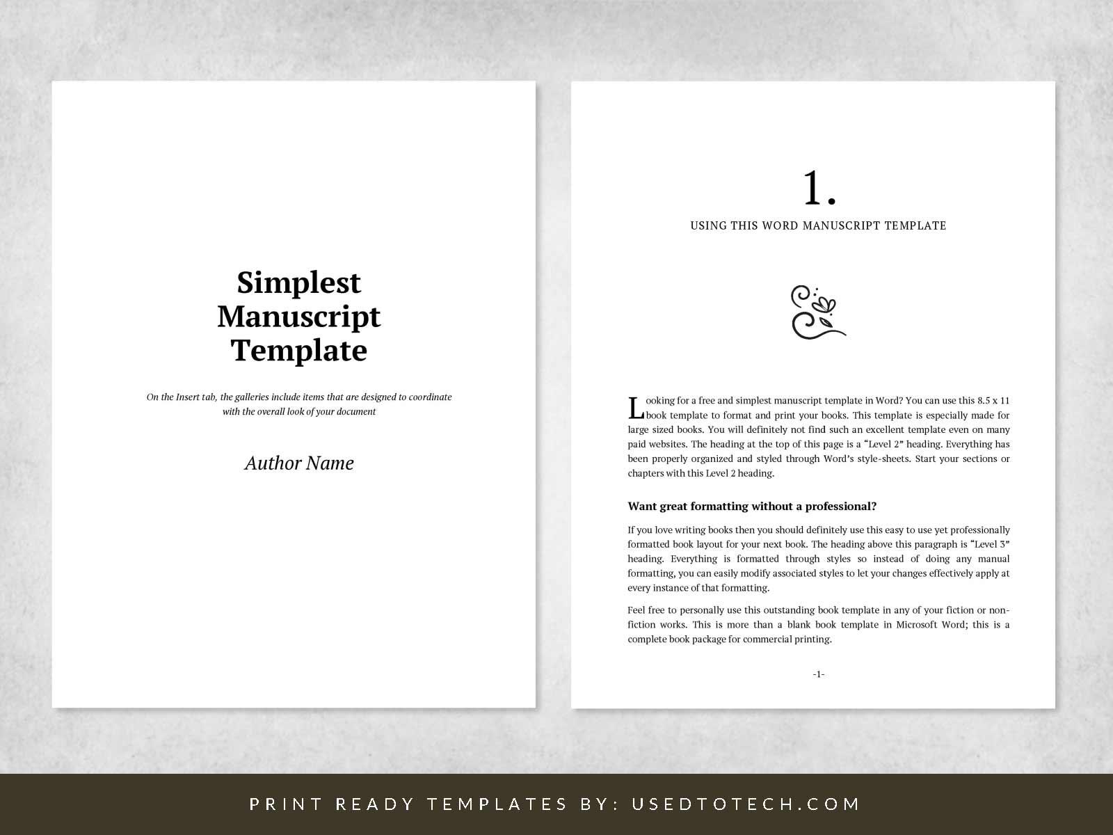 Book manuscript template in 8.5 x 11 paper size