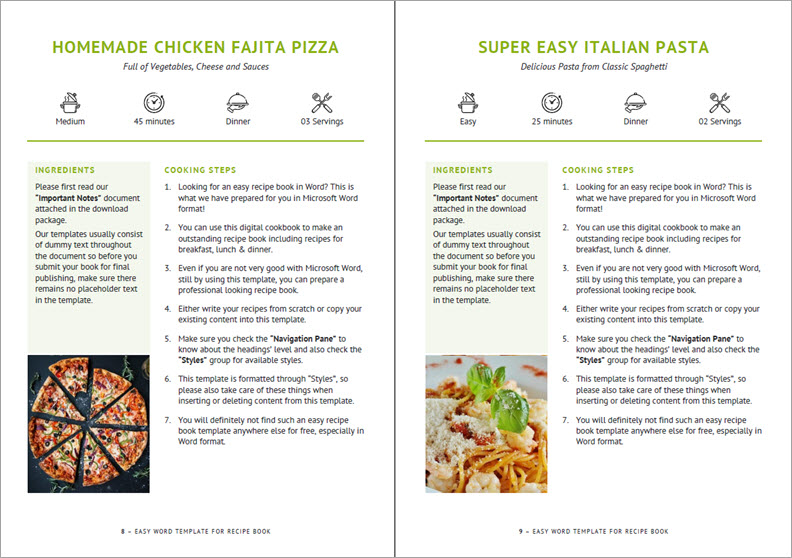 Recipe page layout design