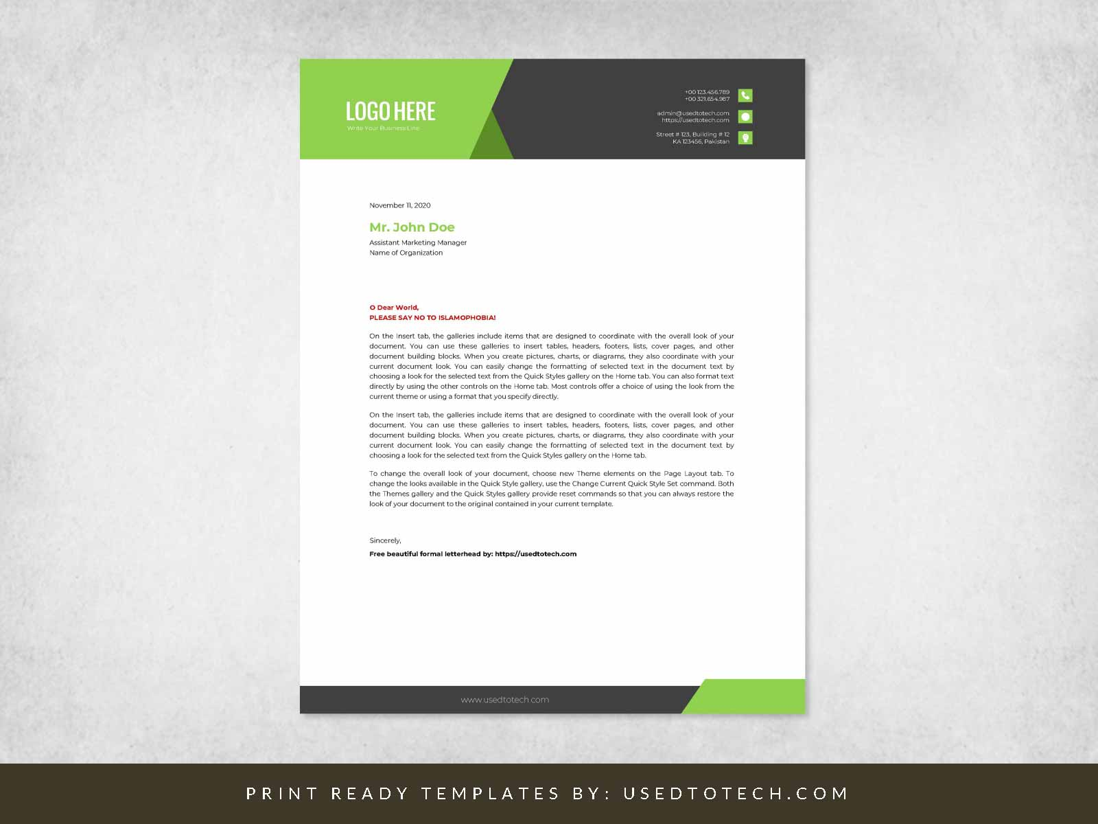 Free beautiful formal letterhead in Word