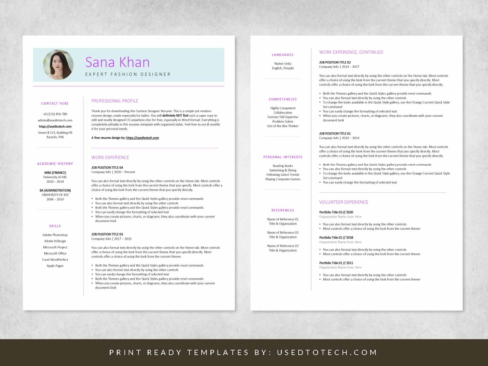 Free fashion designer resume in Word