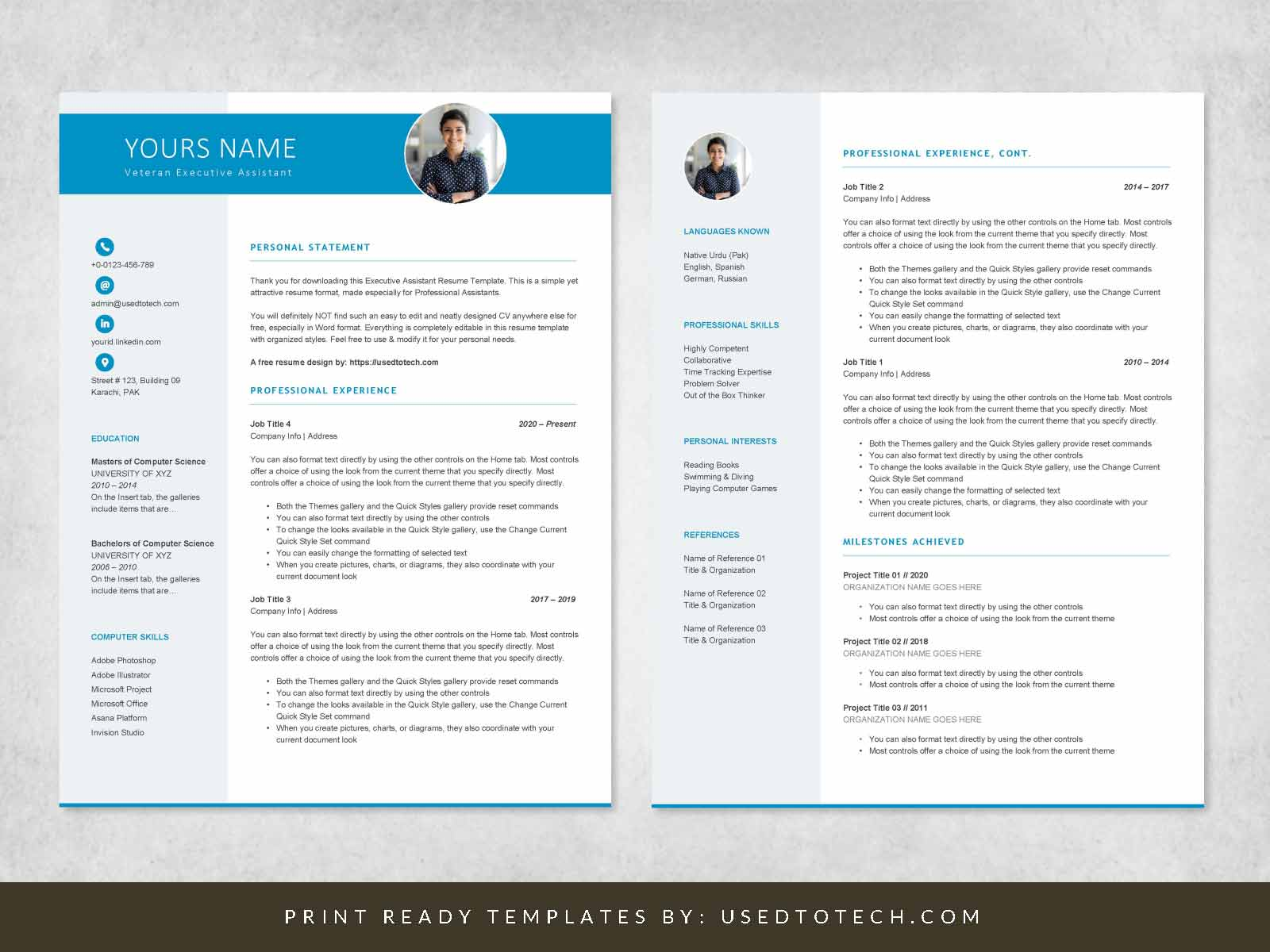 Word design for executive assistant resume