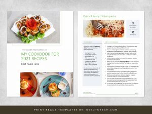 Word DIY recipe book template for chefs
