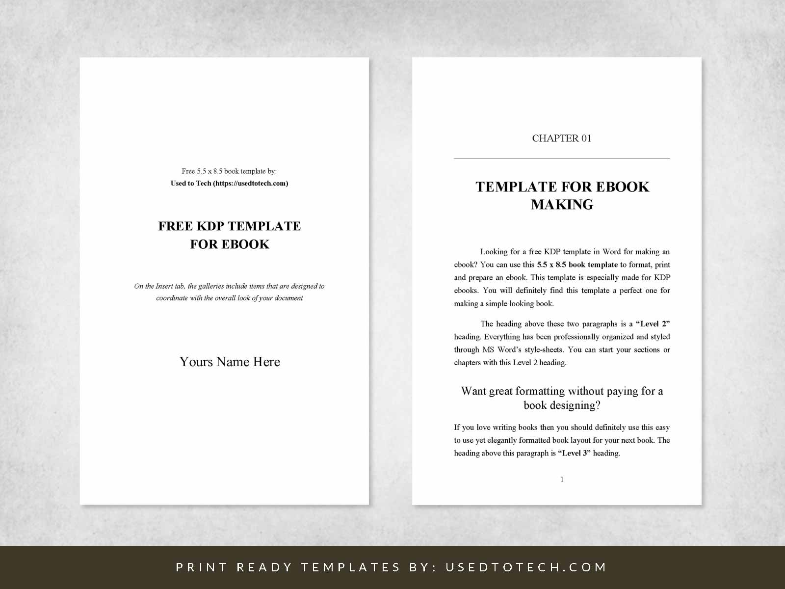 5.5 x 8.5 Kdp template in Word for ebook