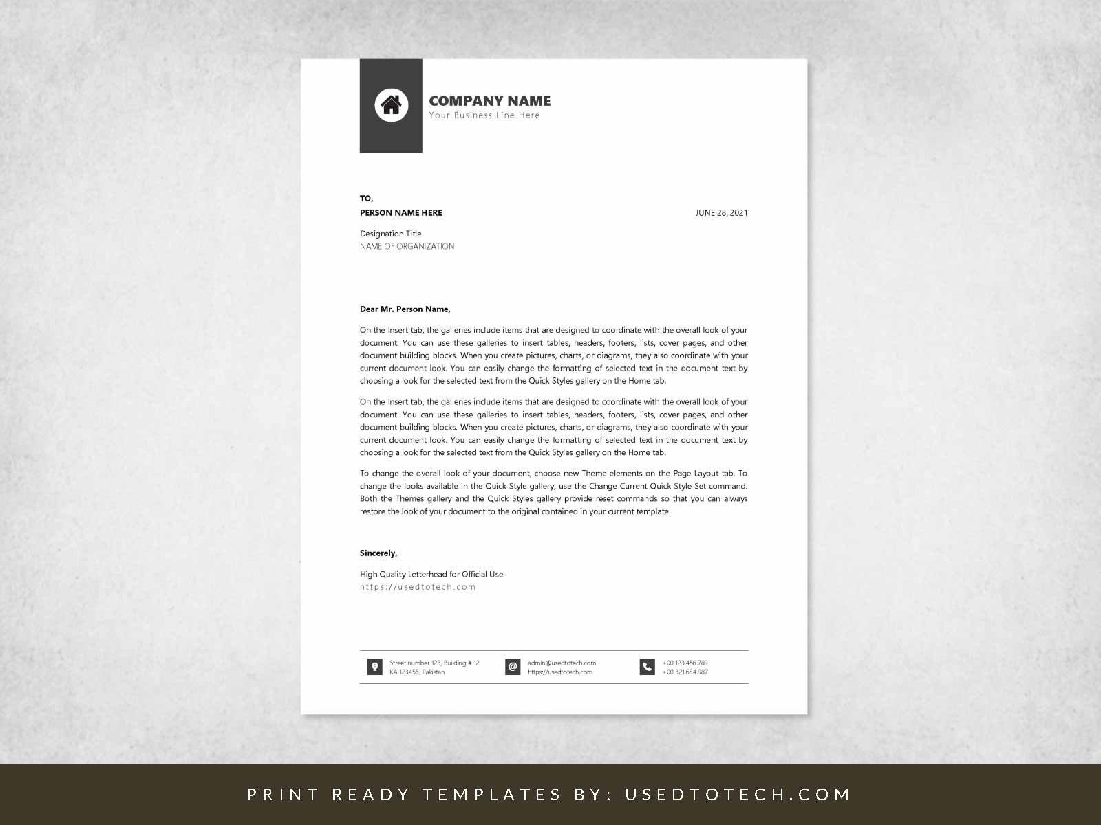 High quality official letterhead for Word