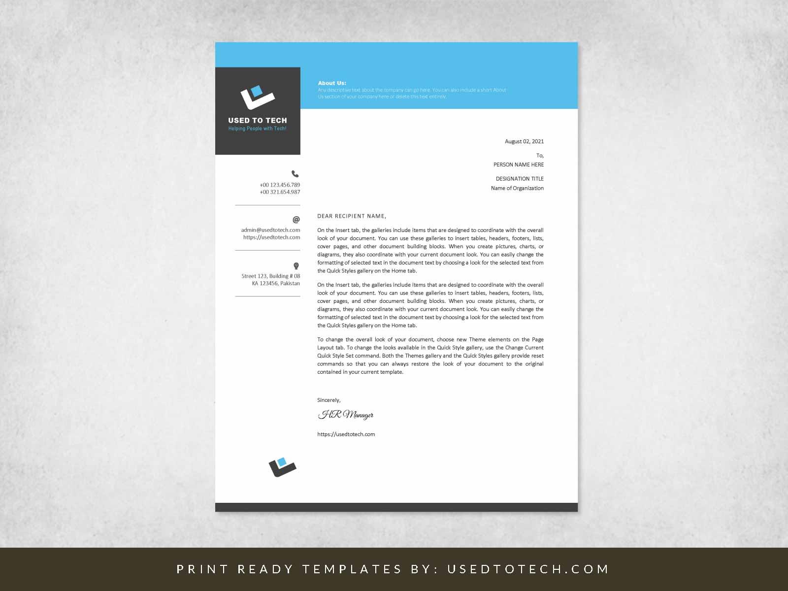 Free professional letterhead design in Word